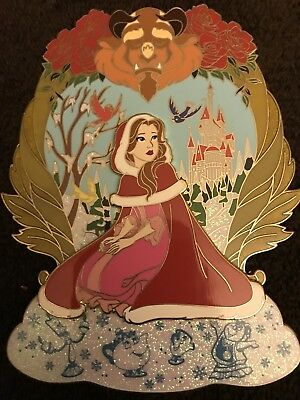 Disney Fantasy Pin Winter Belle From Beauty & The Beast LE 50 Jumbo Pin