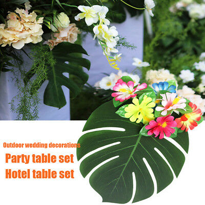 6Pcs Large Artificial Tropical Palm Leaves Monstera Leaf Wedding Party Decor Acc