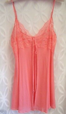 M Victoria's Secret baby doll silk negligee lingere peach coral teddy