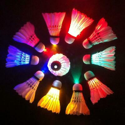 Goose Feather LED Shuttlecocks Night Outdoor Flashing Badminton 4/8/12Pcs Set EU