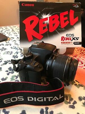 EUC Canon EOS Rebel XS Black EF-S 18-55mm IS Lens Original Box