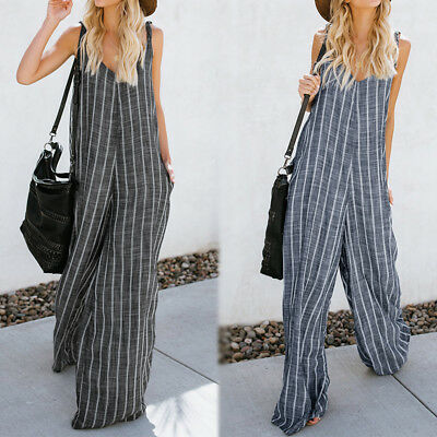 Women Striped Club Party Loose V Neck Romper Playsuit Overalls Wide Leg Jumpsuit