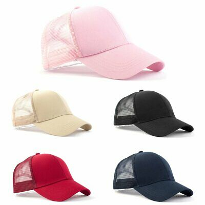 High Bun Ponytail Baseball Cap Hat Adjustable Mesh Visor Hat For Women Girls EU