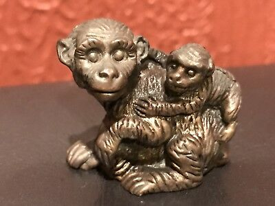 Antique Solid Brass Or Bronze Monkey Holding Baby Monkey Figurine Paperweight