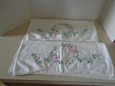 Vintage/Antique Embroidered Pillowcases, Red & Pink Roses