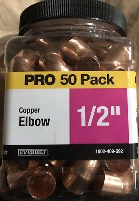 Everbilt 1/2 in. x 1/2 in. Copper 90-Degree Sweat x Sweat Elbow (50-Pack)
