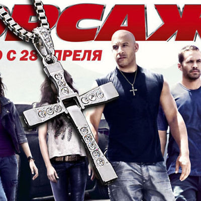"""Hot THE FAST and The FURIOUS Dominic Toretto's CROSS PENDANT 26"""" Chain Necklace"""