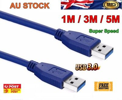 Fast USB 3.0 Super Speed Data Connection Cable Type A Male to A Male Cord AU
