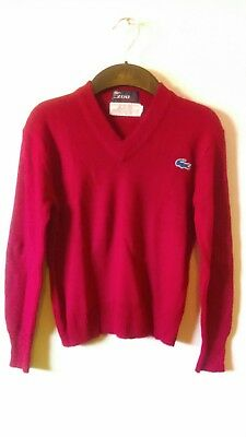 Vintage Lacoste/IZOD Kids V-Neck Red Sweater SZ 9/10 Boys Retro Pullover