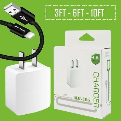 For Apple iPhone 8 PLUS X 10 7 6S 6+ 6 PLUS SE Wall Charger + Lightning Cable