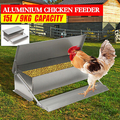 15L Chicken Feeder Chook Poultry Aluminium Automatic Treadle Self Opening Coop