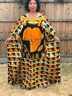 Women African Batik Kaftan Caftan 100% cotton Long Dress Gown Print