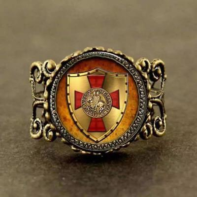Antique Bronze Templar Knights Ring