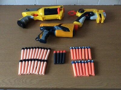 3 X Nerf Hand Guns In VGC With 37 Darts Tested Working