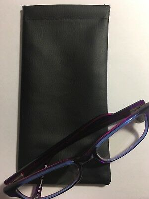 FREE POST - Glasses Case Soft Leather Look Snap Closure