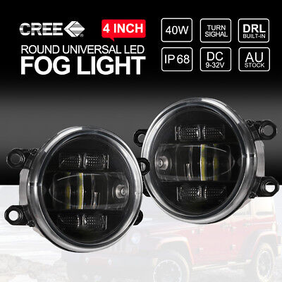 Pair 4 inch 40W CREE LED Fog Lights Built-in DRL & Turn Signal For Toyota Hilux