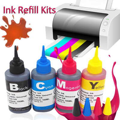 100ml Printer Refill to Replace Epson HP Canon Brother Ink Cartridge Bottles Kit