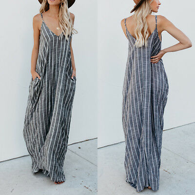 Women Plus Size Strappy Striped Long Maxi Sundress Party Club Beach Cami Dress