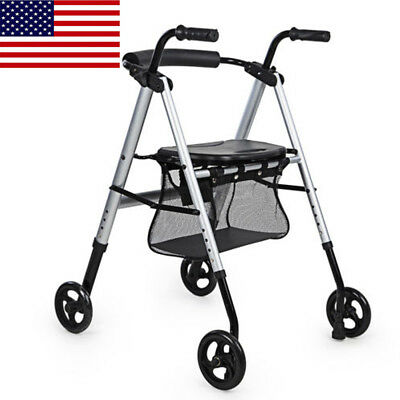 OEM ELENKER Lightweight Portable Rolling Walker with Seat and Shopping Bag Red