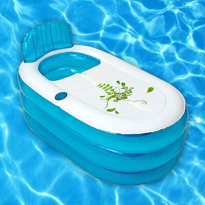 Blue PVC Foldable Durable Adult SPA Inflatable Bath Tub With Free Cushion Pipe