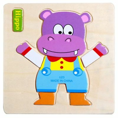 Hippo Cartoon Wooden Puzzle Jigsaw Early Learning Baby Kids Training Toy Funny