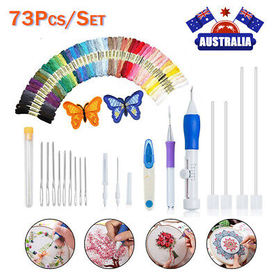 73Pcs/Set Embroidery Pen Magic Knitting Punch Needle Sewing Tool Kit W/ Threads