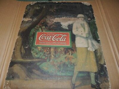 very early old coca cola sign cardboard