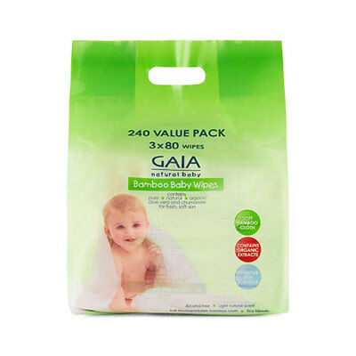 NEW Gaia Natural Baby Baby Wipes Bamboo Wipes 240 Pack Baby Bathing Skincare