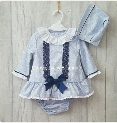 Girls Stunning Spanish Dress Sets with Bloomers & Bonnet - Sizes 0-24mths ☆