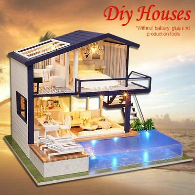Cottage Hut Doll House Miniatures Apartment Wooden Kits DIY LED Kid Gift AU!!