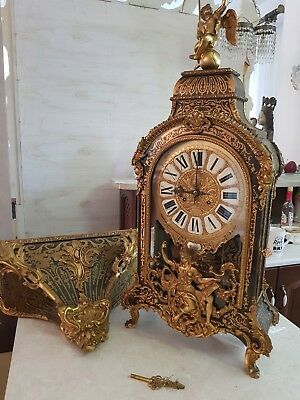 Clock Boulle Style Mantel Clock On Console  #js18
