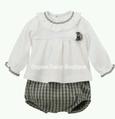 Spanish Grey Checked Pom Pom Jam Pants Sets Frill Collar - Sizes 3-24 Mths ☆