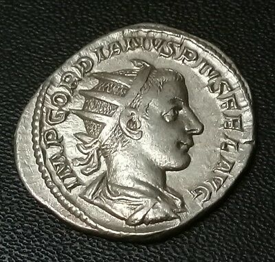 Ancient Roman Imperial Gordian III Silver Coin 240 AD ... 4.00 grams
