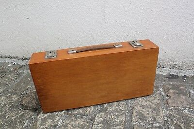 Vintage Wooden Suitcase Cheney Clasps Artists Case Locks With Key 44x21x9cm