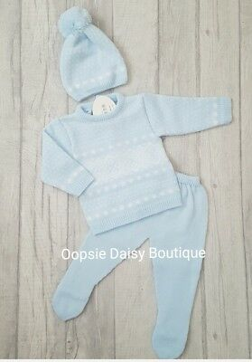 Baby Boys Girls Spanish Blue Knitted Suit with Matching Bobble Hat  ☆