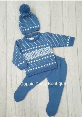 Baby Boys Spanish Blue Knitted Suit with Matching Bobble Hat  ☆
