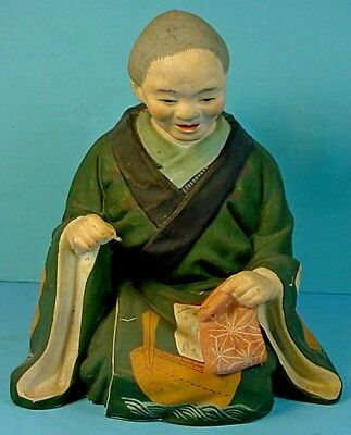 VINTAGE JAPANESE CLAY HAKATA URASAKI DOLL 'WOMAN with BABY, SEWING'