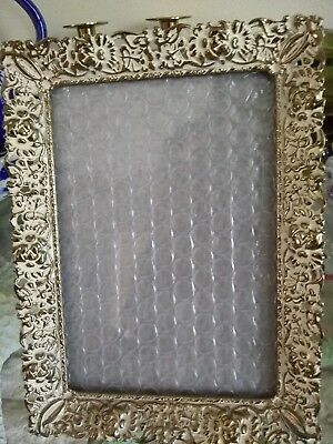 Vtg Gold Metal Whitewash Photo Picture Frame Floral Shabby Chic Holds 4.5 x 6.5