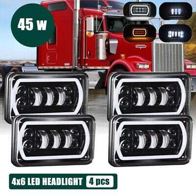 4PCS 4X6 LED Sealed Beam Headlights Bulb for Kenworth T800 T400 T600 W900B W900L