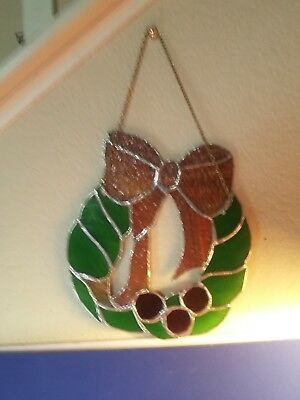Collectible Vintage Christmas Stained Glass Wreath With Hanging Chain