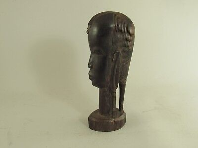 """Vintage African Tribal Hand Carved Ebony Bust Sculpture Figurine 9"""" Tall"""