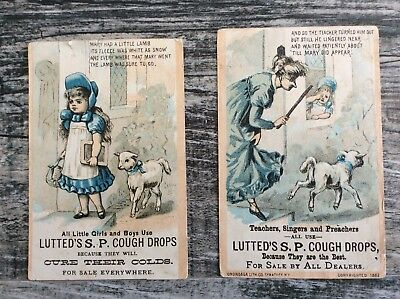 Pair Of Victorian Trade Cards, LUTTED'S S P COUGH DROPS,  Mary Had A Little Lamb