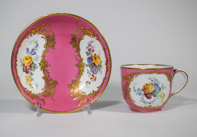 Sevres 18th Century Tea Cup & Saucer Hand Painted Floral Design with Gold Gilt