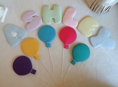 """""""Ashley"""" Name Letters & Balloons Wall Decor, 12"""" Cloth Covered Foam"""
