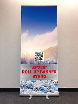 """33""""×79"""" Retractable roll up banner stand show display FREE PRINTING and SHIPPING"""