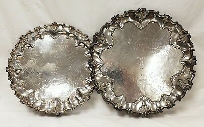 Fancy Pair Antique English Sheffield Footed Trays Salvers Fountain Engraving
