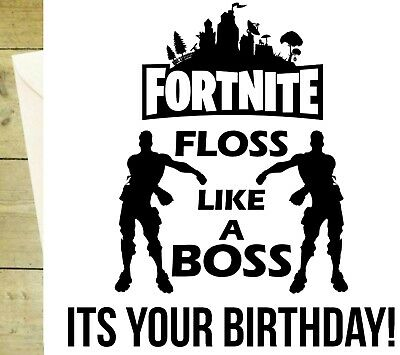 Floss Like A Boss Fortnite Black And White Game Happy Birthday Card