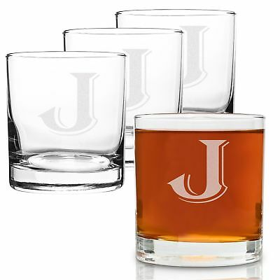 On The Rox 4 Piece Glass Set Engraved with J-Monogram, 11-Ounce