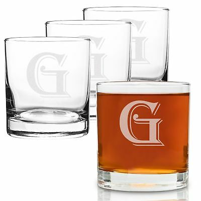 On The Rox 4 Piece Glass Set Engraved with G-Monogram, 11-Ounce