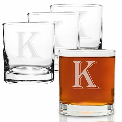 On The Rox 4 Piece Glass Set Engraved with K-Monogram, 11-Ounce